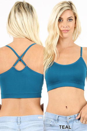 Cross Back Padded Seamless Adjustable Bralette One Size