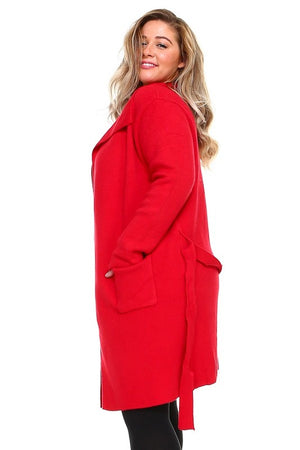 Plus Red Belted Cardigan Sweater