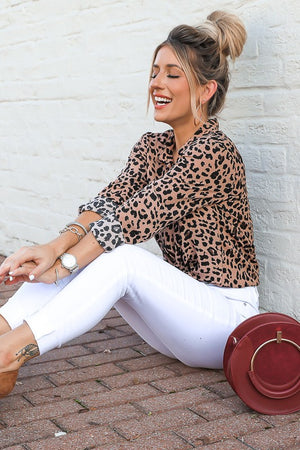 Leopard Button Down Woven Top
