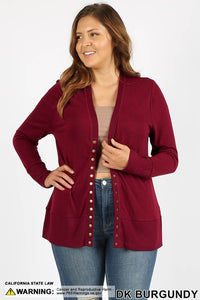 Plus Burgundy Snap Cardigan