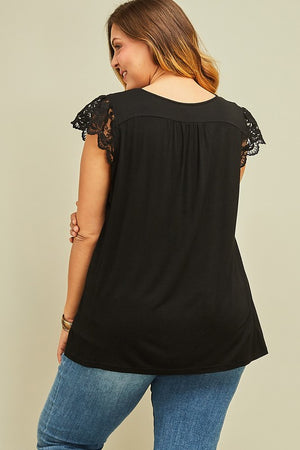 Black V-Neck Lace Cap Sleeve Top