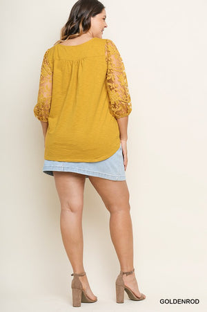 Plus Mustard Faux Button Top