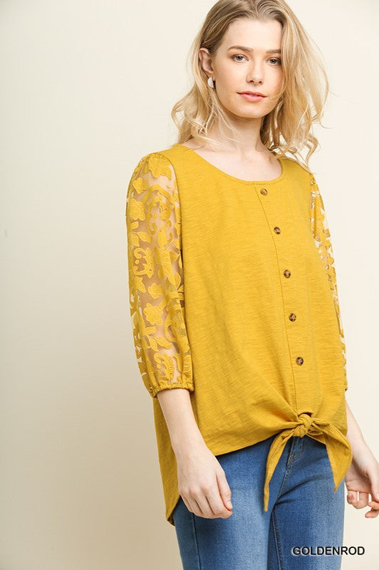Mustard Faux Button Top