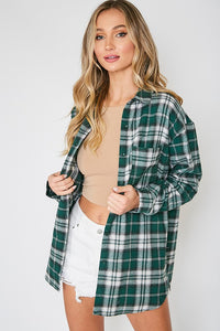 Green Checked Loose Fit Flannel