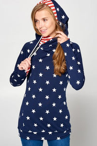 Star Print French Terry Double Hoodie