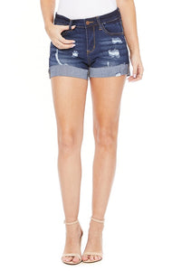 Judy Blue Dark Raw Hem Cuff Shorts