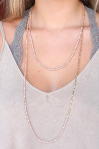 Natural Glass/Metal Bead Necklace