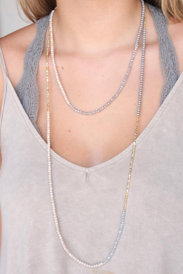 Grey Glass/Metal Bead Necklace