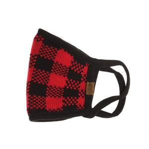 Adult Knit Buffalo Plaid C.C Face Mask