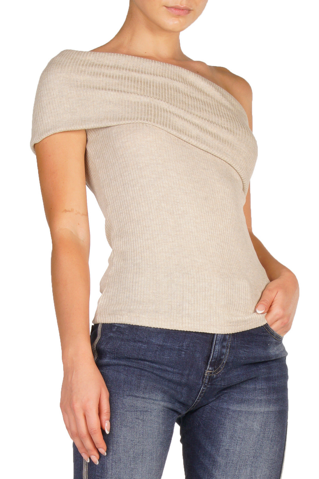 Charcoal Off The Shoulder Ribbed Top