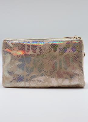 Liz Snake Beige Hologram Crossbody Bag