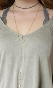 CZ Horn Grey Necklace