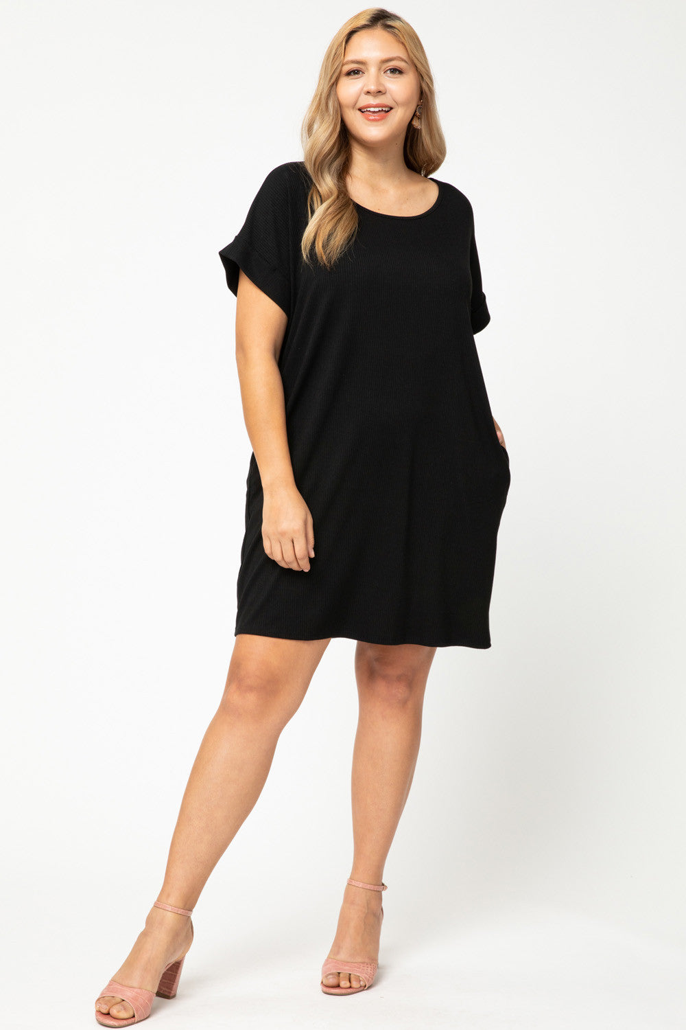 Ribbed Cuffed Sleeve Pocket Dress