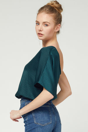 Hunter Green Textured One Shoulder Top