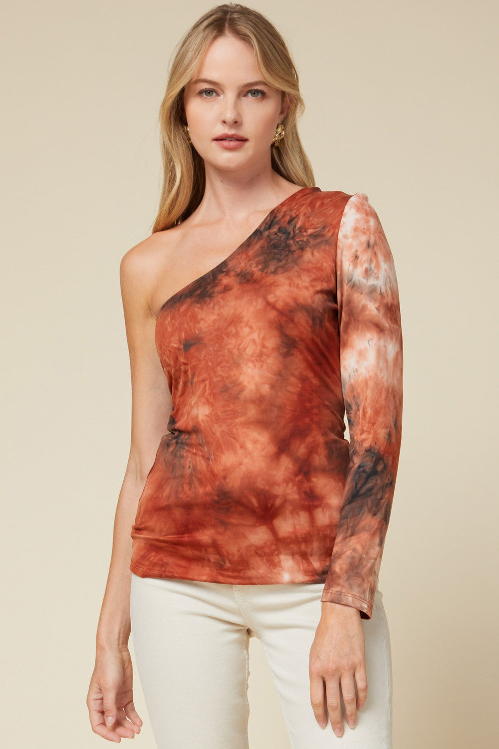 Tie Dye Rust Print One Shoulder Top