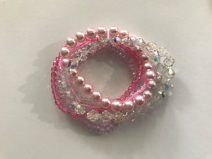 Pink Bracelet Glass Bead Stack