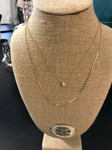 Double Layer Necklace with Stone Pendant