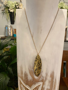 Brass Patina Leaf Paper Moon Necklace