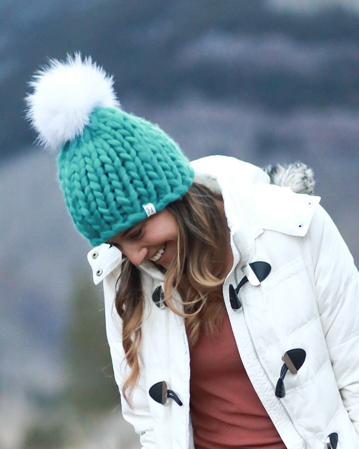 Mint Chunky Knit Pom Hat