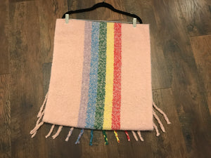 Pink Ultra Soft Oversized Wide Striped Tassel Scarf