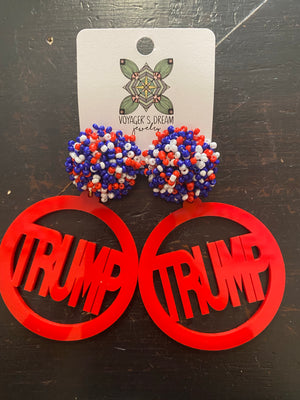 Acrylic Election Earrings With Pom Pom