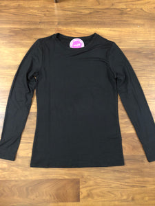Black Microfiber Long Sleeve Crew Tee