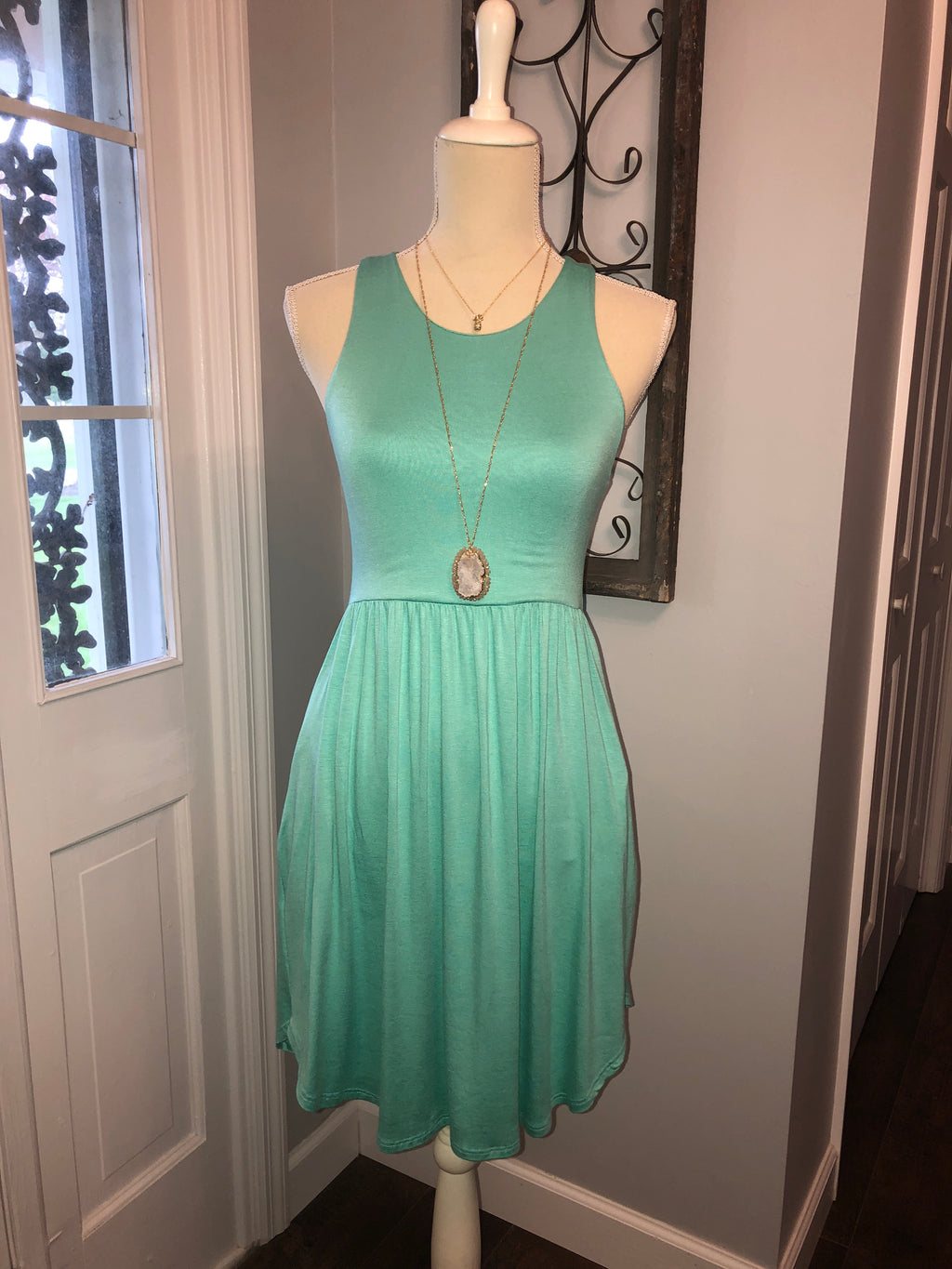 Mint Razor Back Mini Dress