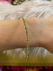 Thin Gold Tone Bangle Bracelet with Gray Crystals