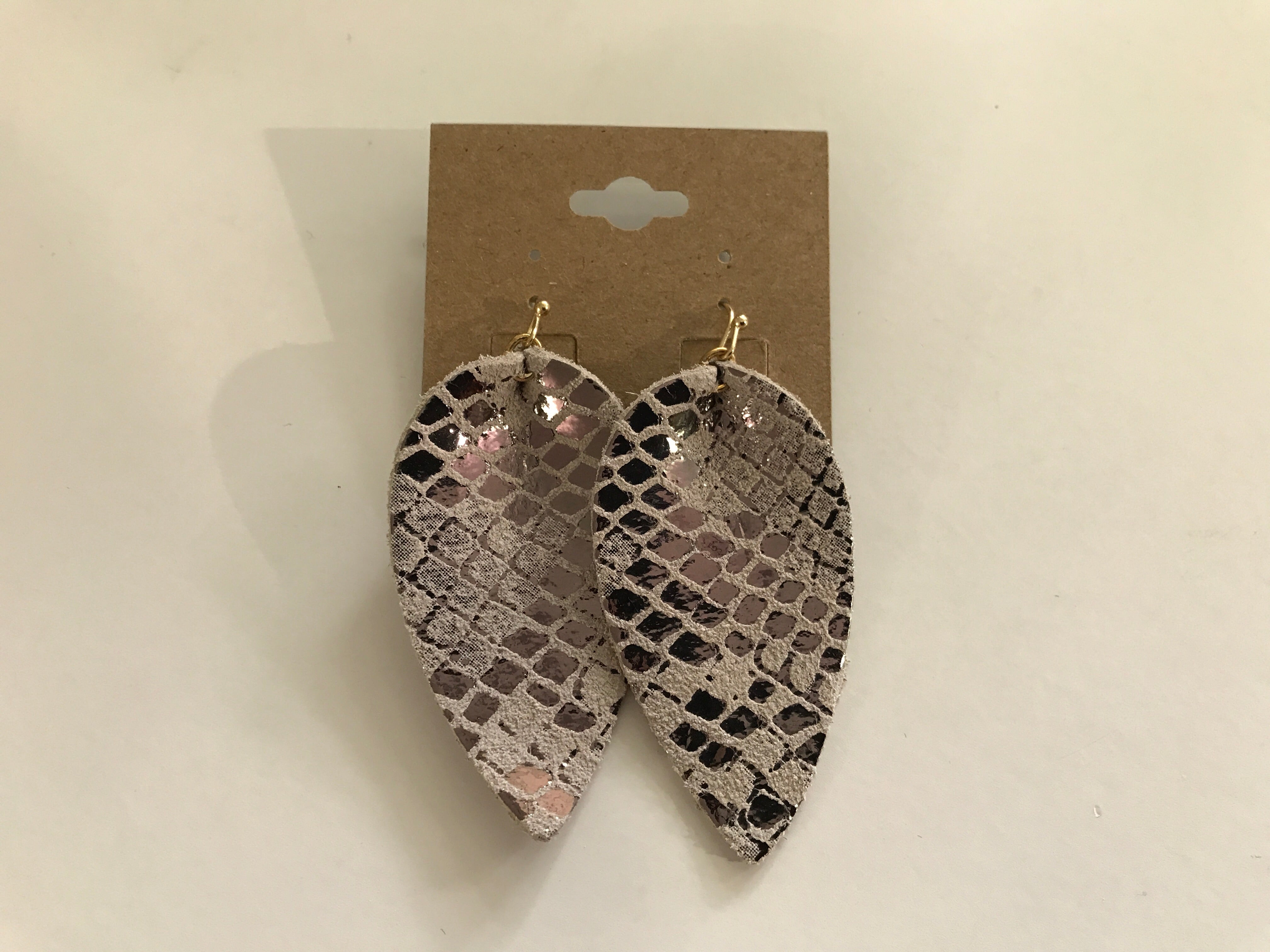 Snake Leather Petal Earrings