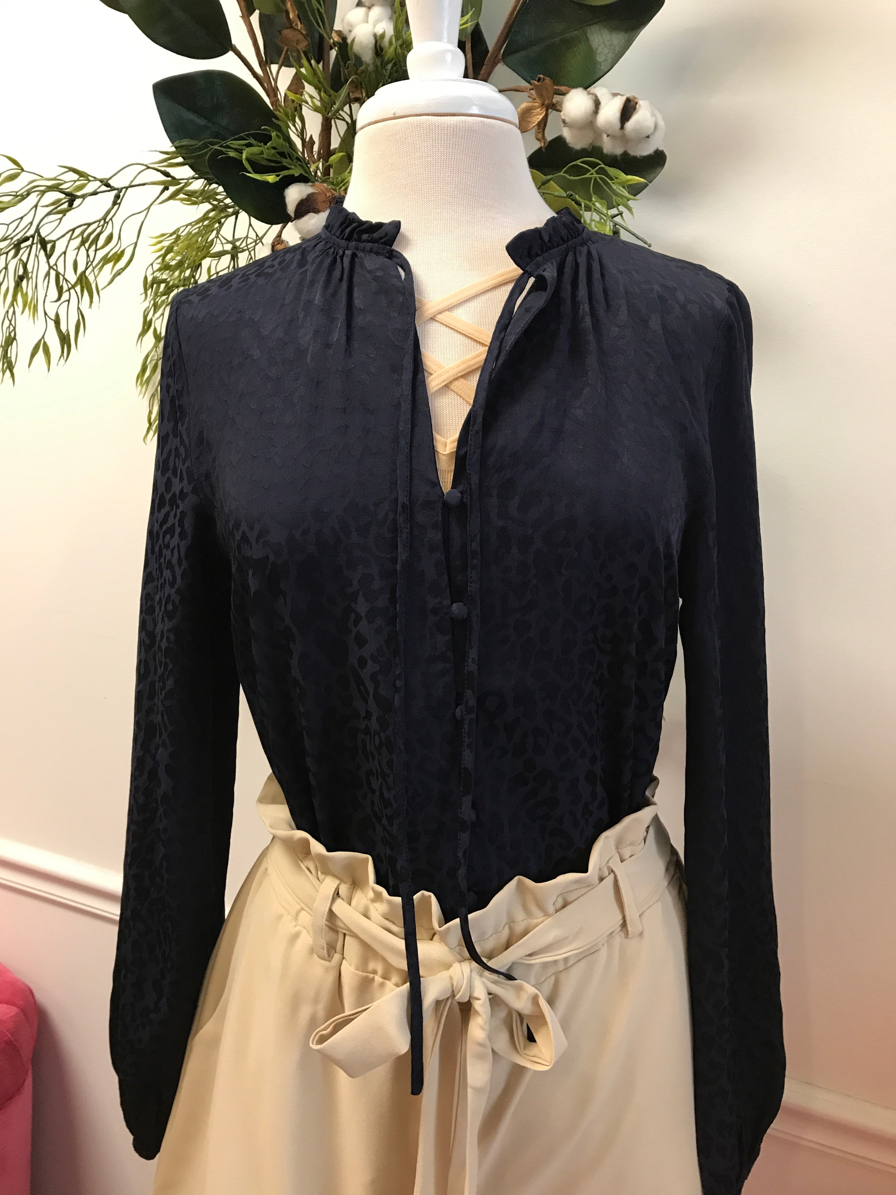 Navy Leopard Button down blouse