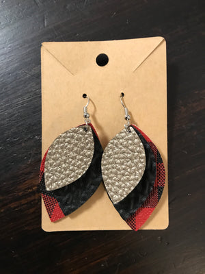 Layered Faux Leather Petal Earring