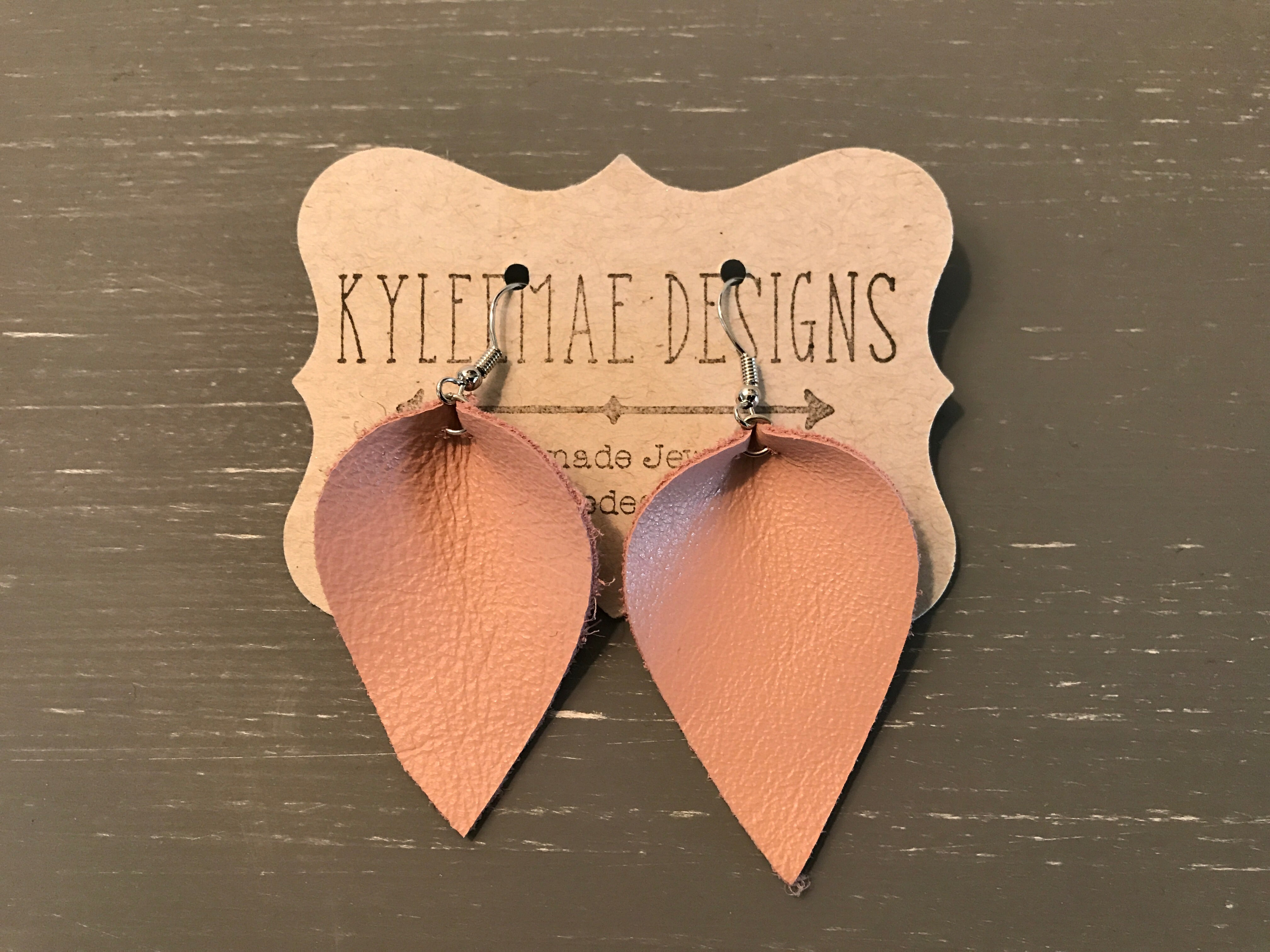 Pink Leather Petal Earring