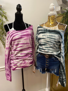 French Terry Wide Neck Tie Dye Sweatshirt