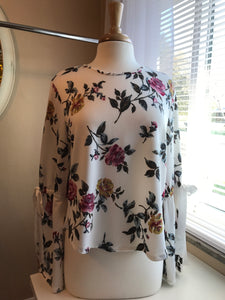 White Floral Bell Tie Sleeve