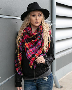 Black Pink Plaid Plaid Triangle Scarf