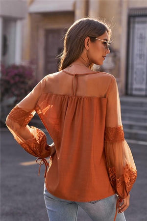 Rust Lantern Sleeve Lace Detail Top