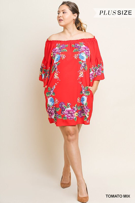 Plus Floral Off Shoulder Bell Sleeve Dress