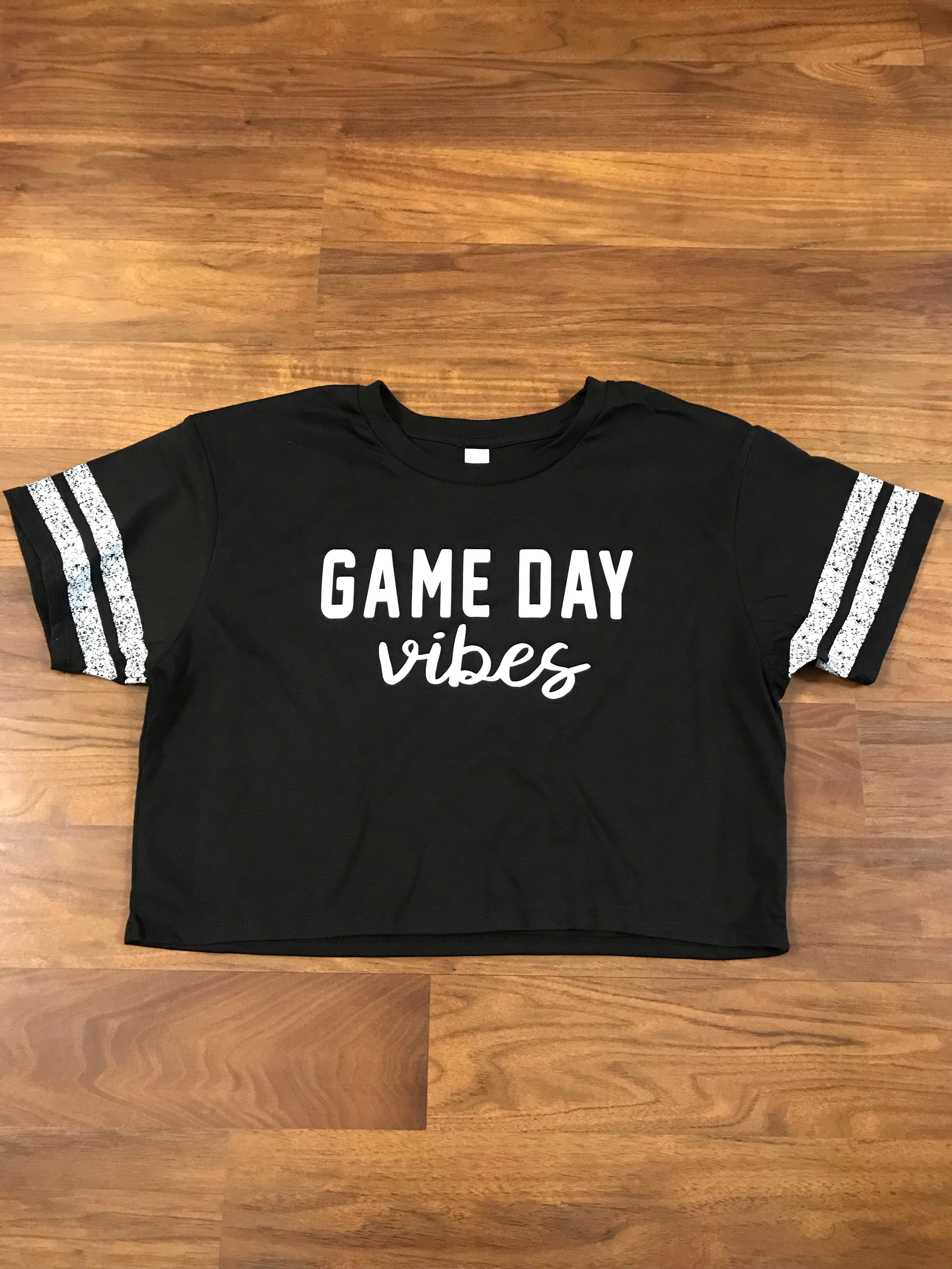 Black Game Day Crop Tee
