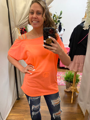 Neon Orange Jersey Strapped One Shoulder Top