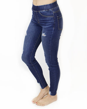 Indigo Distressed Mid-Rise Pull-On Denim