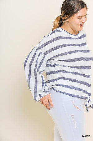 Plus Navy Stripe Puff Sleeve Top