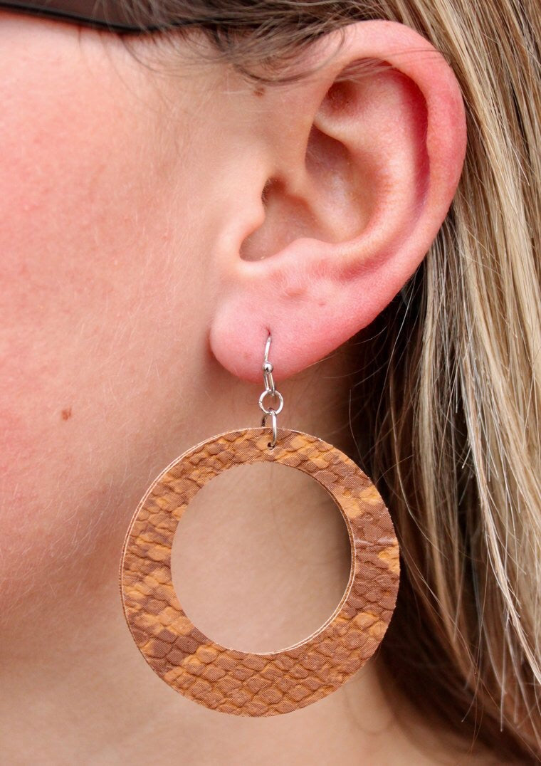 Brown Snake Circle Leather Drop Earring