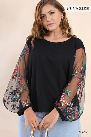 Black Floral Embroidered Puff Sleeve
