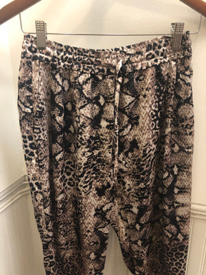 Snake Print Front Tie Pants