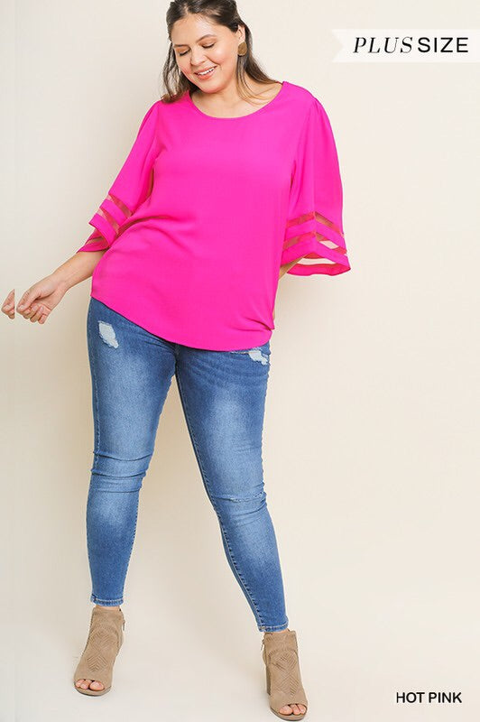 Plus Hot Pink Mesh Bell Sleeve Top
