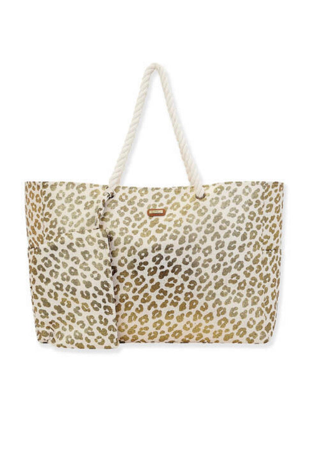 Metallic Leopard Beach Canvas Sun N Sand Tote
