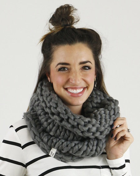Charcoal Chunky Hand Knit Scarf