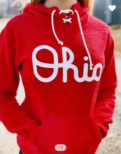 Red Ohio French Terry Lace Up Hoodie