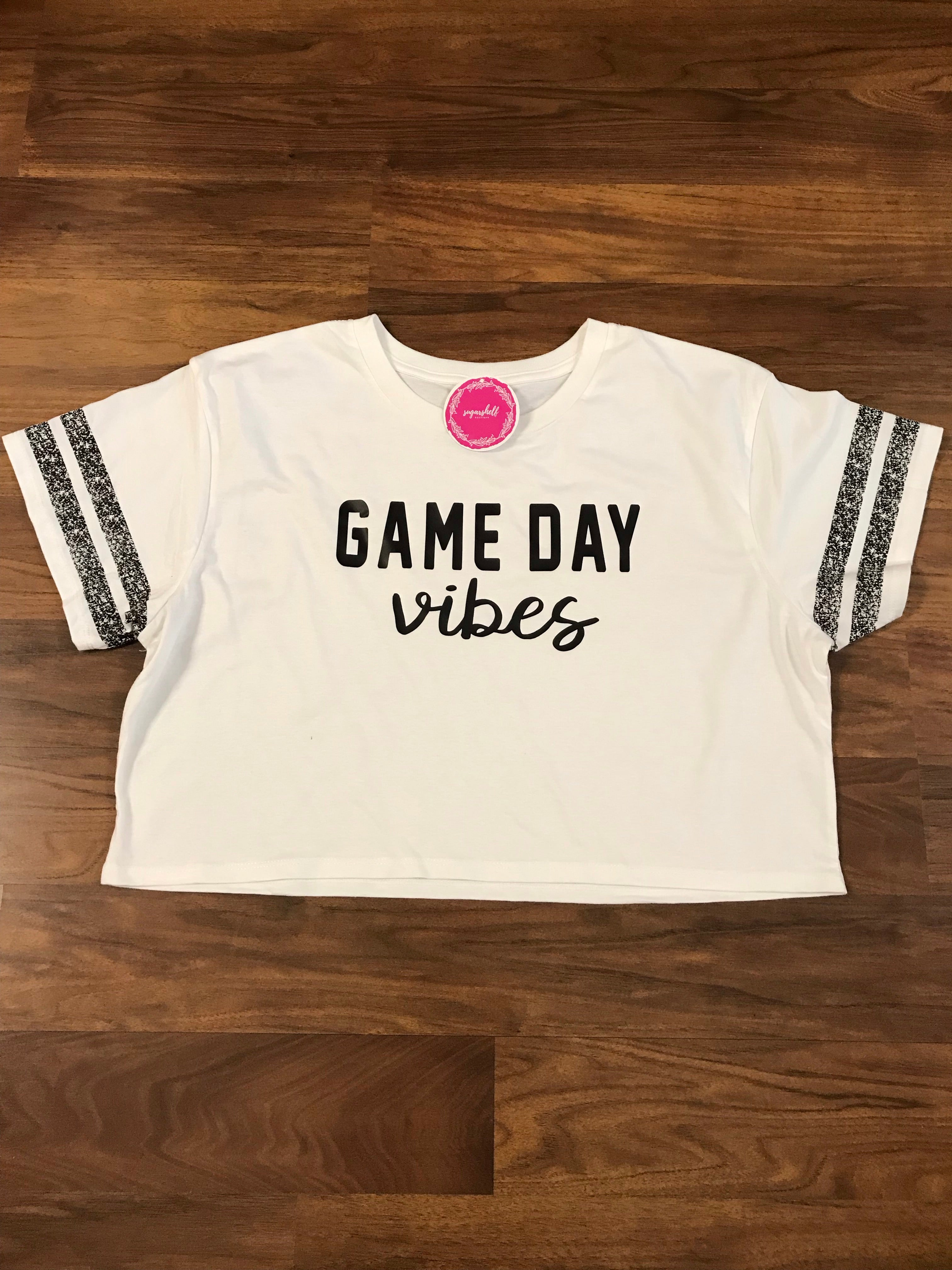 White Game Day Crop Tee
