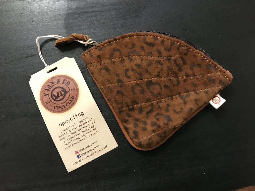 Brown Leather Cheetah Coin Pouch